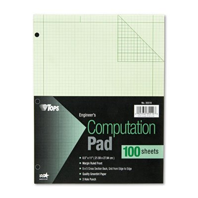 Engineering Computation Pad, Grid to Edge, Quad Rule, Ltr, Green, 100-Sheet/Pad, Sold as 1 Pad, 100 Sheet per Pad - Edge Quad
