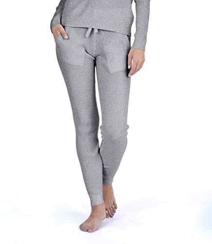 State Cashmere Women's 100% Pure Cashmere Knitted Loungewear Pants with Pockets (Pants/Heather Grey, Small)