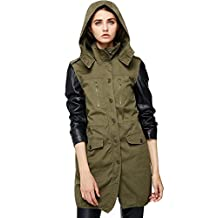 Escalier Women`s Leather Sleeve Jacket Hooded Anorak Safari Parka Coat