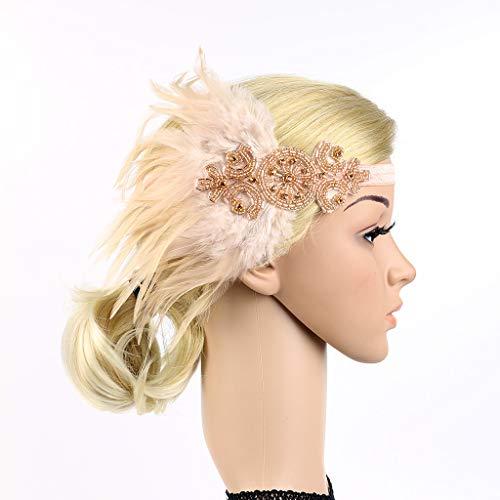 (Wcysin 1920s Gatsby Flapper Feather Headband Crystal Pearl Beaded Wedding Headpiece Accessories)