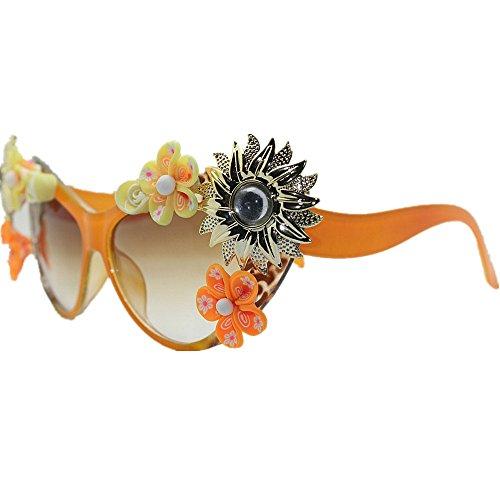 Summer Ultra con de Sol Las Sunflower Hechas Beach de a UV Gafas Lady Ligero Flores Cat de Gafas Mano de Sol de Vacaciones Mujeres Ojos rvqwrW51