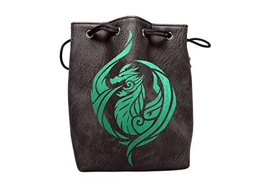 Black Leather Lite Large Dice Bag with Dragon