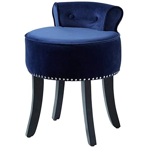 Posh Living Alena Navy Velvet Vanity Stool – Nailhead Trim – Button Tufted