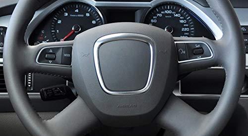 Trim de Voiture argent/ée Mate medocflore beauty Airbag ABS Argent Sticker Centre de Volant Logo Badge R/éduire Cadre Couverture Remplacement Accessoires for A4 B8 B6 S4 A5 A6 C6 Q5 Q7