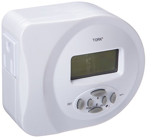NSi Industries TORK 457Z Indoor 15-Amp 24-Hour, 7-Day, Digital Plug-In SunSet Dusk to Dawn Lighting Timer - Compatible with Incandescent/Compact Fluorescent/LED - Features 2 Outlet Receptacles – Ideal for Halloween Decorations ()