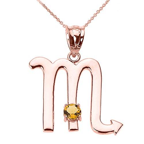 "Personalized 14k Rose Gold Genuine Citrine November Birthstone Scorpio Zodiac Pendant Necklace, 18"""