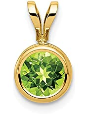 14k Yellow Gold 6mm Green Peridot Bezel Pendant Charm Necklace Gemstone Fine Jewelry For Women Gifts For Her