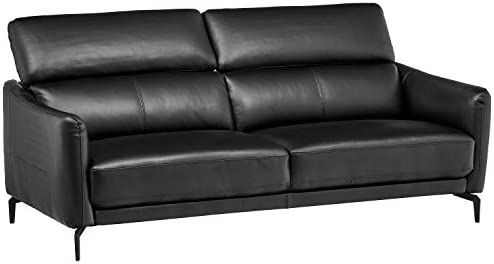 Amazon Brand Rivet Kaden Mid-Century Modern Adjustable Headrest Leather Loveseat Sofa, 77.5 W, Black Leather