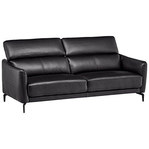 Rivet Kaden Mid-Century Modern Adjustable Headrest Leather Loveseat Sofa, 77.5 W, Black Leather