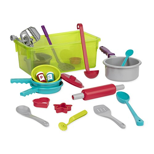 - Battat - Cooking Set - Pretend Play Toy Dishes Set - Plastic Kitchen Toys for Toddlers 3 Years + (21-Pcs)