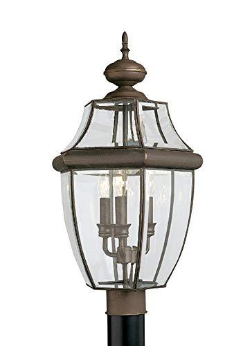 Antique Bronze Outdoor Post Light - Sea Gull Lighting 8239EN-71 Lancaster Three-Light Outdoor Post Lantern, Antique Bronze