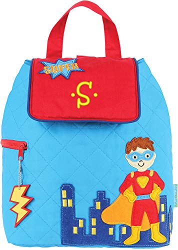 Monogrammed Stephen Joseph Super Hero Quilted Backpack, with Yellow Embroidered Initial S