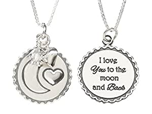 """Children's Sterling Silver """"Moon and Back"""" April Swarovski-created Birthstone Heart Necklace, 14"""""""