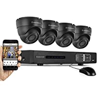 Amcrest 720P HD Over Analog (Tribrid HDCVI/IP) 4CH Video Security System - Four 1.0 MP Weatherproof IP66 Dome Cameras, 65ft IR LED Night Vision, Long Distance Transmit Range (1,640ft), Pre-Installed 1TB HD for 360 Hours 8Ch Recording 720p @ 30fps, Quick QR Code Smartphone Access, USB Backup and More