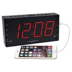 1.8 inch RED LED display Alarm Clock Radio with USB charging & Audio input, DC Battery Backup, Dual Alarm, 3.5mm AUX cable for music playback, USB port for Smartphones charging (PCR-2166)