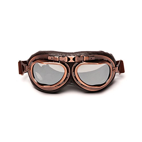 LEAGUE&CO Vintage Aviator Pilot Sports Motorcycle Cruiser Scooter Goggle, Half Helmet Goggles, Windproof glasses (Silvery)]()