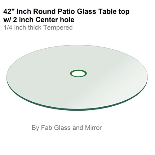 "Fab Glass and Mirror 1/4"" Thick Flat Tempered Round Patio Gl"