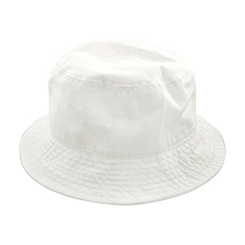 (Falari Men Women Unisex Cotton Bucket Hat Large/X-Large White)