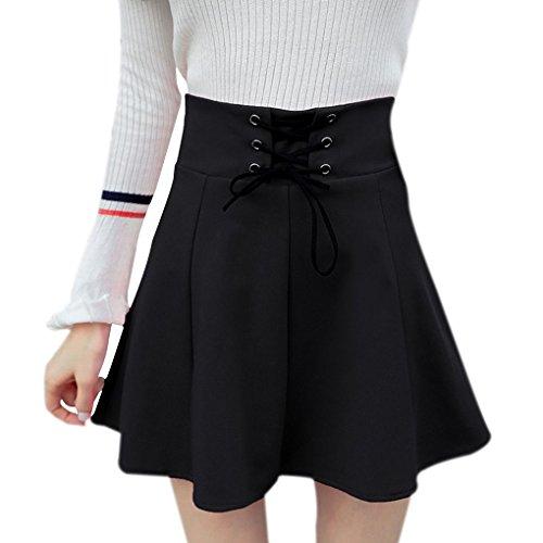 Masterein Femmes de Haute Taille Solide Jupe Courte Lacent Plisse Prevent Jupe d'exposition noir