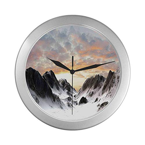 C COABALLA Apartment Decor Simple Silver Color Wall Clock,Majestic Snowy Mountains Winter Season Frozen Lands Peaks with Scenic Sky Photo for Home Office,9.65