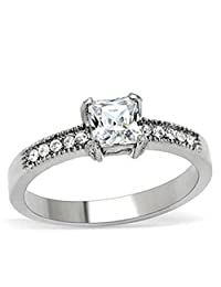 Lanyjewelry Princess cut CZ Womens Stainless Steel Wedding/Engagement Ring