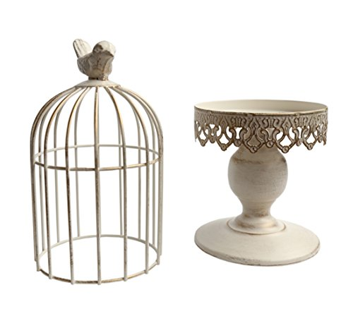 Berry President(TM Handmade Metal Candleholder Vintage Home Decorative Table Floor Tall Birdcage Candle Holder Centerpiece for Wedding (White14.1'')