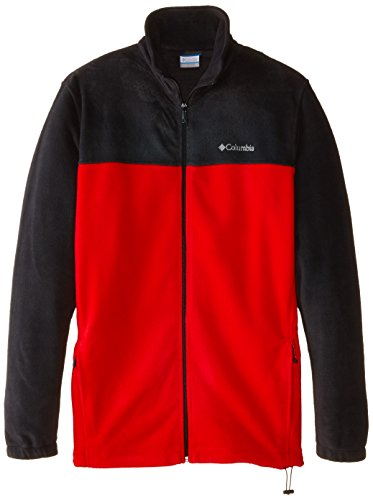Columbia Men's Big & Tall Steens Mountain Full Zip 2.0 Fleece Jacket,Black/Bright Red,3X/Tall (Black Mountain Outerwear)