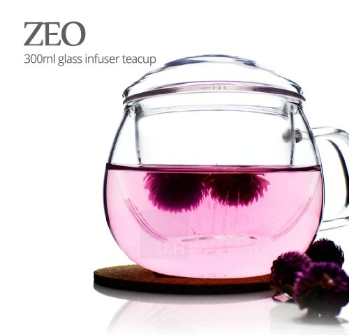 Tea infuser Mug (300ml 10oz) Teacup with strainer, Loose Tea, Passion Fruit Flower Tea or Hibiscus Tea, Made of Tempered Borosilicate Glass, Novelty Gift Cup For Afternoon Tea - Zeo Unihom