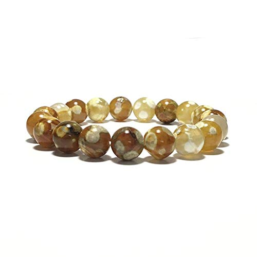 KAIISH Bracelet 6Mm 8Mm 10Mm 12Mm Onyx Agates Beaded Bracelet for Men Men Beautiful Yellow Stone Charm Yoga Meditation Jewelry