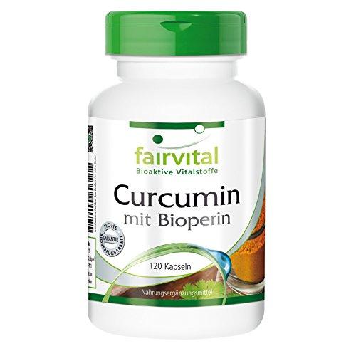 Curcumin mit Bioperin 500 mg, Curcuma Longa Wurzel, 120 vegetarische Kapseln