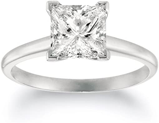 Igi Certified 1 Carat Princess Cut Shape 14k White Gold Solitaire Diamond Engagement Ring 4 Prong I J Color Vvs2 Vs1 Clarity Amazon Com