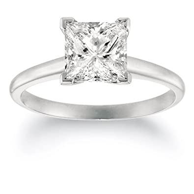 b4af50db6 IGI Certified 1 Carat Princess Cut/Shape 14K White Gold Solitaire Diamond  Engagement Ring 4 Prong (I-J Color, VVS2-VS1 Clarity)