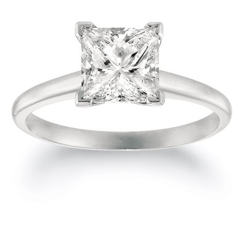 Ring Certified Princess Engagement Diamond - 14K White Gold Solitaire Diamond Engagement Ring Princess Cut (H Color VS1 Clarity 0.52 ctw) - Size 3.5