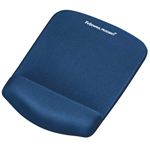 (Fellowes PlushTouch Mouse Pad and Wrist Rest with FoamFusion Technology, Blue (9287301))