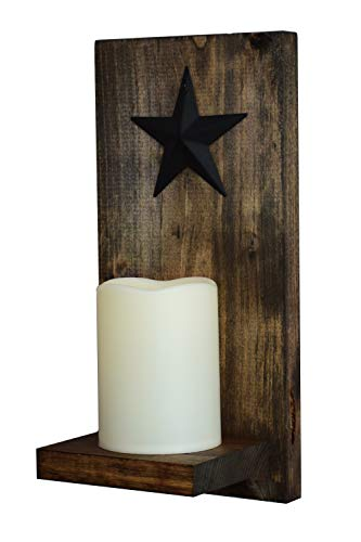 Rustic Wall Candle Sconce, Wood Panel and Shelf with Mounting Hanger, LED Candle with 5 Hour Timer, Real Wax with Realistic Warm Flickering Light (4 Inch Candle with Black Metal Barn Star, Espresso)