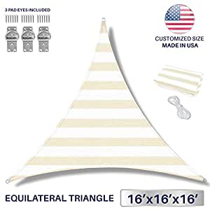 Windscreen4less 16' x 16' x 16' Triangle Sun Shade Sail - Wide Beige/White Stripes Durable UV Shelter Canopy for Patio Outdoor Backyard with Free 3 Pad Eyes - Custom Size