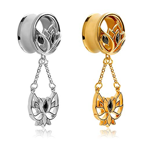TBOSEN Ear Gauges Gold Plated Dangle Plugs Tunnels For Ears Reamer Hollow Flower Surgical Steel Screw Dilation Piercing Expander