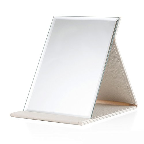 HaloVa Makeup Mirror, Adjustable Portable Folding Vanity Mirror, Lightweight Slim Cosmetic Mirror with PU Leather Stand, Perfect for Outdoor Activities Travel Holidays Camping, White