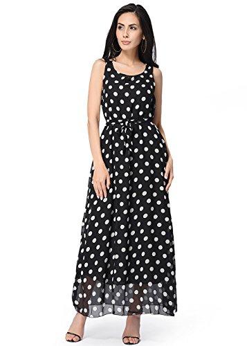Frauen runder Kragen Wave Point Ärmelloses langes Kleid