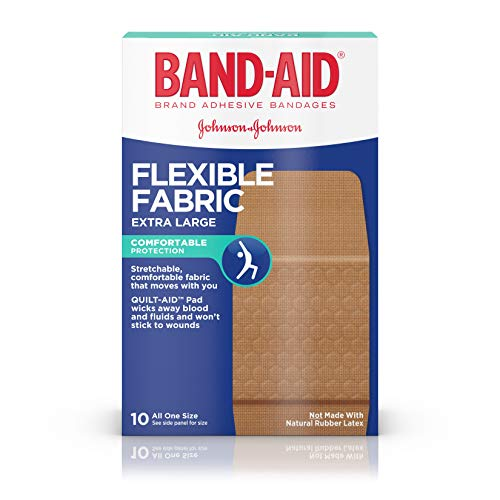 Band-Aid Brand Flexible Fabric Adhesive Bandages for Wound Care & First Aid, Extra Large Size, 10 ct (Fabric Extra Large Bandages Flexible)