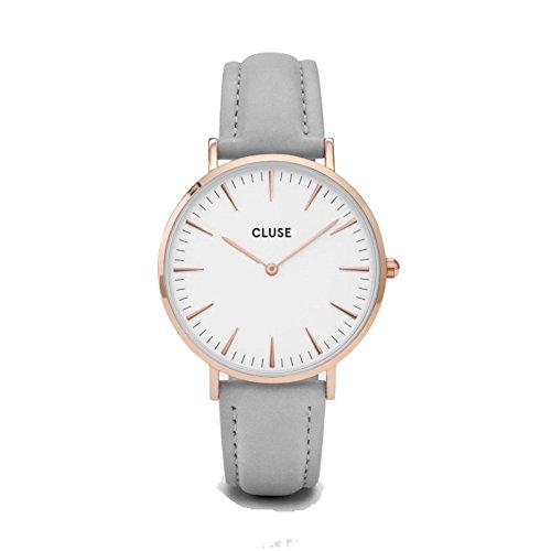 CLUSE La Bohème Rose Gold White Grey CL18015 Women's Watch 38mm Leather Strap Minimalistic Design Casual Dress...