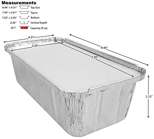 D&W Fine Pack Wilkinson A86 2 lb. Aluminum Foil Loaf/Bread Pan Tins w/Foil Board Lid (pack of 25)