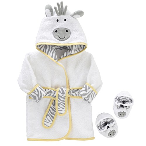 Just Born Just Bath Welcome to the Circus Robe and Booties Set, Grey/Yellow/White (Born Baby Gifts)