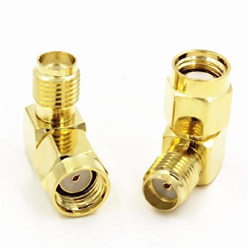 vers prise SMA femelle coud/ée vers connecteur RF Lot de 2 adaptateurs RP-SMA m/âle broche femelle