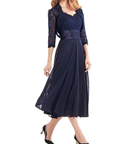Kurzes Spitze Ballkleider mit Abendkleider Partykleider Brautmutterkleider Charmant Wadenlang Navy Jaket Blau Damen SqwtR4E