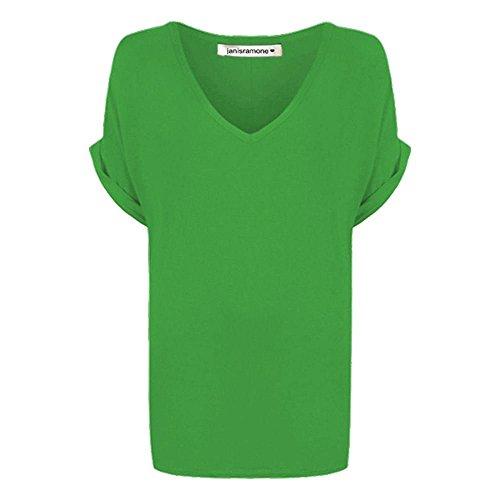 Janisramone V Adattarsi signore Donne fuori Corta Oversize Nuove manica baggy Maglietta Cima Pianura collo Le Girare Stampato Verde YqY1r