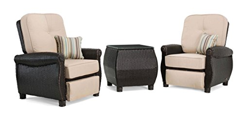 La-Z-Boy Outdoor Breckenridge 3 Piece Resin Wicker Patio Furniture Set Natural Tan 2 Recliners and Side Table with All Weather Sunbrella Cushions