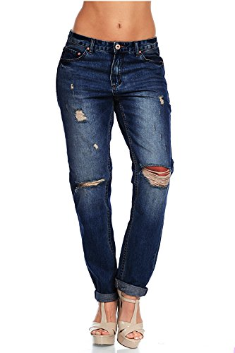 (TwiinSisters Women's 100% Cotton Washed Distressed Boyfriend Jeans (Medium, Dark)