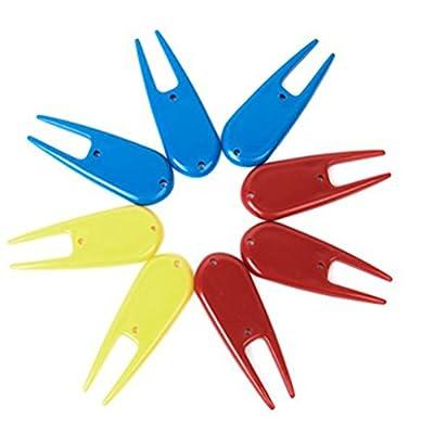 PIXNOR 8pcs Plastic Golf Divot Tool (Random Color)