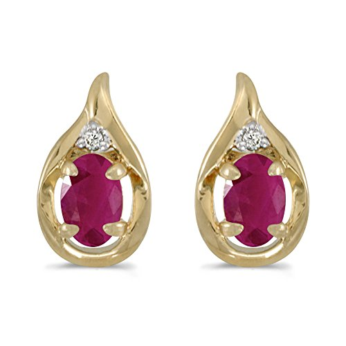 (FB Jewels Solid 14k Yellow Gold Studs Genuine Red Birthstone Oval Ruby And Diamond Earrings (0.72 Cttw.))